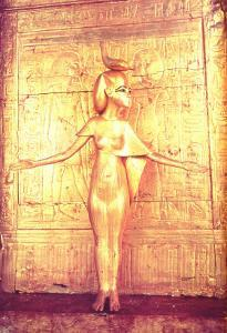 The Goddess Selket on the Canopic Shrine, from the Tomb of Tutankhamun by Egyptian 18th Dynasty