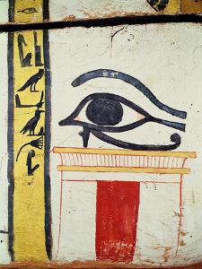 Wedjat Eye, Detail from the Sarcophagus Cover of the Lady of Madja, New Kingdom, c.1450 BC by Egyptian 18th Dynasty