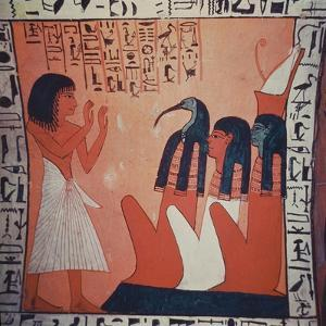 Tomb Painting Depicting the Departed before Osiris, Isis, and Thoth (Fresco) by Egyptian 2nd Dynasty