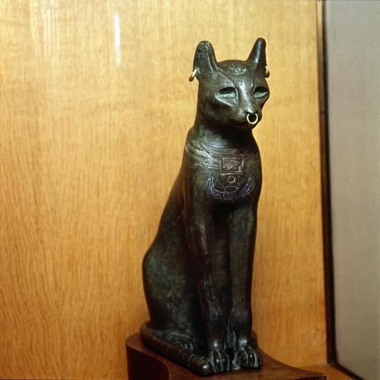 Egyptian Bronze Cat, Sacred to the Goddess Bastet, Roman Period. c664BC-332 BC-Unknown-Giclee Print