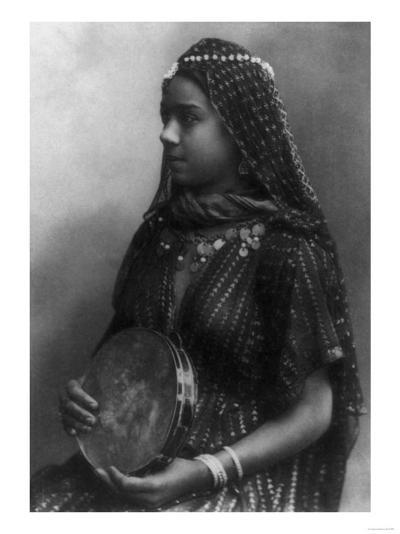 Egyptian Dancing Girl with Tambourine Photograph - Egypt-Lantern Press-Art Print