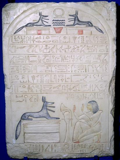 Egyptian elief stele of a man adoring Anubis. Artist: Unknown-Unknown-Giclee Print