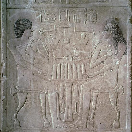 Egyptian funerary stele of a Royal Priest and his wife-Unknown-Giclee Print