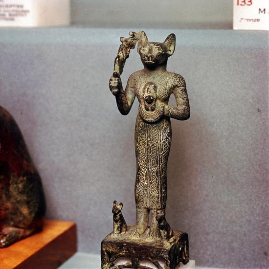 Egyptian Goddess Bastet as a Cat with Kittens, holding an Aegis, c664BC- 332BC-Unknown-Giclee Print