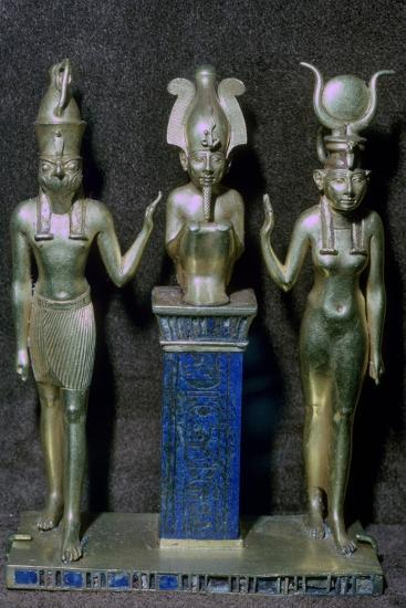 Egyptian gold statuettes of Osiris, Horus, and Isis. Artist: Unknown-Unknown-Giclee Print