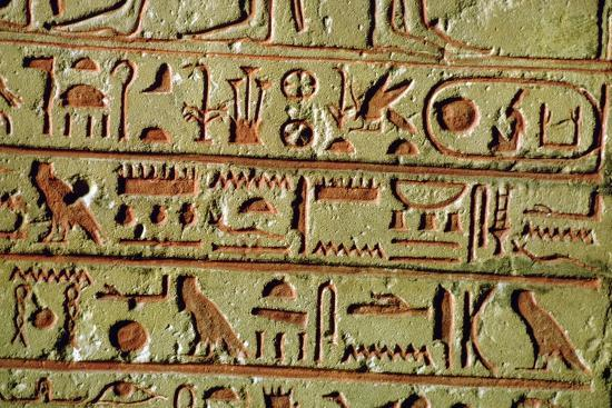 Egyptian hieroglyphs on a funerary stele. Artist: Unknown-Unknown-Giclee Print