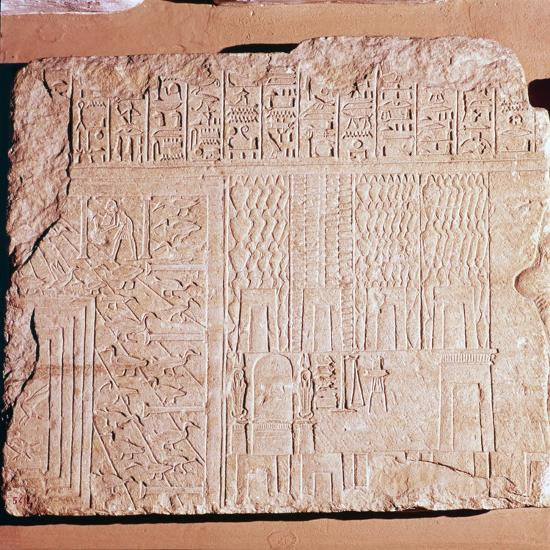 Egyptian Limestone Relief with scenes of Fields and Storehouses-Unknown-Giclee Print