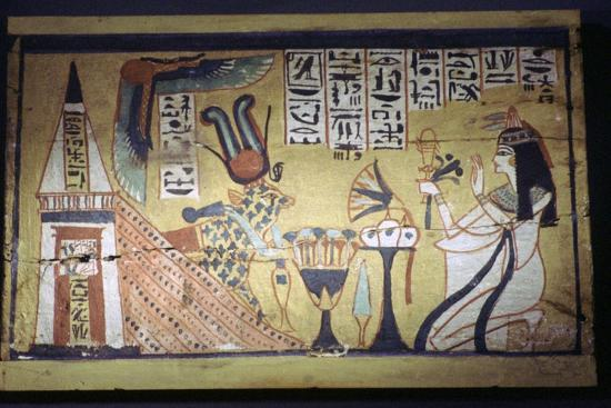 Egyptian painting on a wooden shabti box. Artist: Unknown-Unknown-Giclee Print
