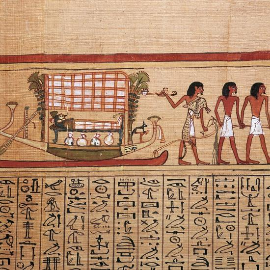 Egyptian papyrus depicting taking the mummy to the necropolis, 13th century BC-Unknown-Giclee Print