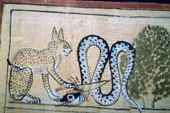 Egyptian papyrus of the cat of Ra killing Apophis the snake of evil. Artist: Unknown-Unknown-Giclee Print