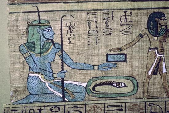 Egyptian papyrus showing the god Nun. Artist: Unknown-Unknown-Giclee Print