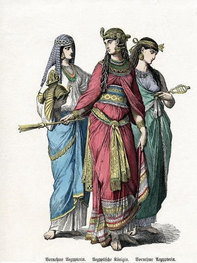 Egyptian Queen and Female Attendants, Mid 19th Century--Giclee Print