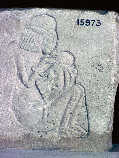 Egyptian relief of a woman suckling a child, 14th century BC. Artist: Unknown-Unknown-Giclee Print