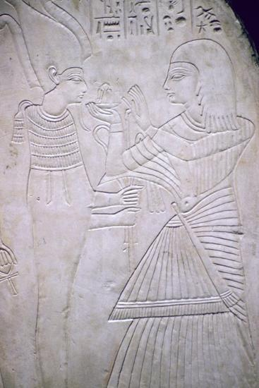 Egyptian relief of Amon making an offering to Osiris. Artist: Unknown-Unknown-Giclee Print