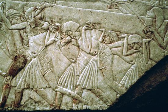Egyptian relief of men moving a stone lintel. Artist: Unknown-Unknown-Giclee Print