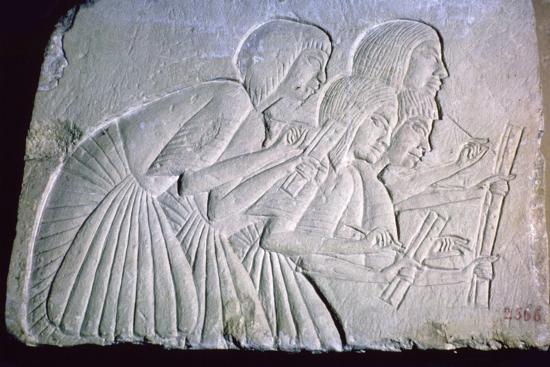 Egyptian relief of scribes. Artist: Unknown-Unknown-Giclee Print