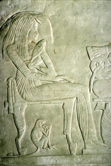 Egyptian Relief. Seated Lady with elaborate hairstyle-Unknown-Giclee Print