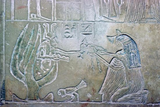 Egyptian relief showing a dead woman and Hathor. Artist: Unknown-Unknown-Giclee Print