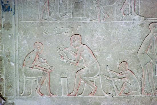 Egyptian relief showing vase painters, 14th century BC Artist: Unknown-Unknown-Giclee Print
