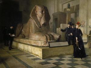 Egyptian Room of Louvre and Great Sphinx, by Guillaume Larue (1851-1935)