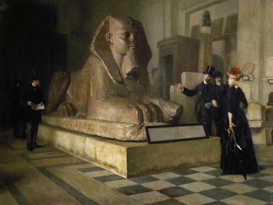 Egyptian Room of Louvre and Great Sphinx, by Guillaume Larue (1851-1935)--Giclee Print