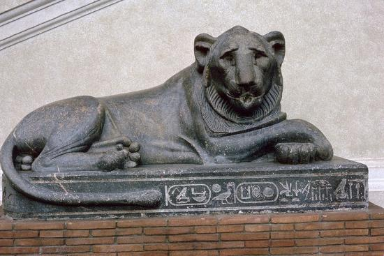 Egyptian sculpture of a lion. Artist: Unknown-Unknown-Giclee Print