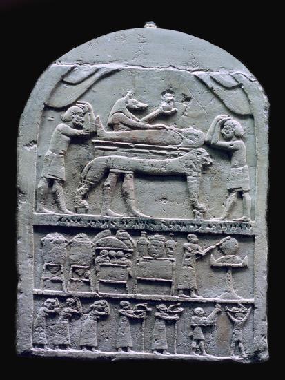 Egyptian stele showing Anubis preparing a mummy. Artist: Unknown-Unknown-Giclee Print