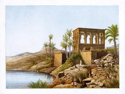 Egyptian Temple by the River Nile, Egypt, C1870-W Dickens-Giclee Print