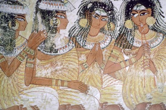 Egyptian wall-painting of musicians at a banquet. Artist: Unknown-Unknown-Giclee Print