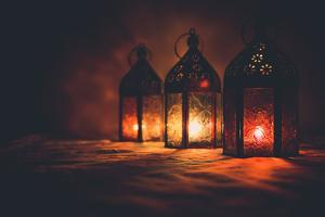 Eid Colorful Lamps or Lanterns for Ramadan and Other Islamic Muslim Holidays, with Copy Space for T