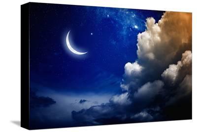 Eid Mubarak with Shiny Moon--Stretched Canvas Print