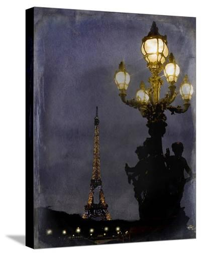Eiffel at Night-Karen J^ Williams-Stretched Canvas Print