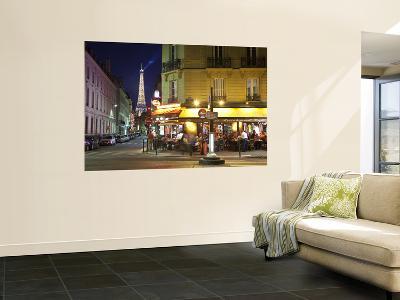Eiffel Tower and Cafe on Boulevard De La Tour Maubourg, Paris, France-Jon Arnold-Giant Art Print