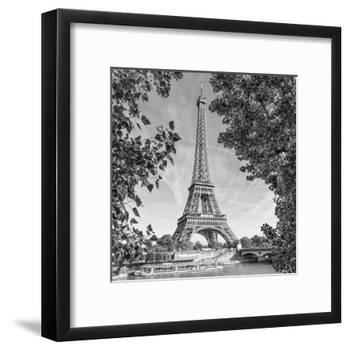 Eiffel Tower and River Seine Monochrome-Melanie Viola-Framed Art Print