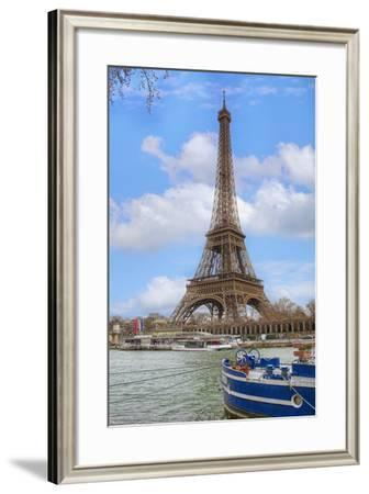 Eiffel Tower and Seine Boat Paris-Cora Niele-Framed Photographic Print