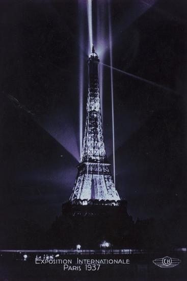 Eiffel Tower at Night, Exposition Internationale, Paris, 1937--Photographic Print