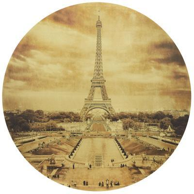 Eiffel Tower - Circular Gold Canvas Giclee Printed on 2 - Wood Stretcher Wall Art