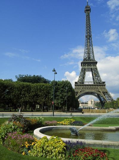 Eiffel Tower, Flowers and Fountain, Paris, France-James Lemass-Photographic Print