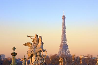 Eiffel Tower from Place De La Concorde with Statue in Foreground, Paris, France, Europe-Neil-Photographic Print