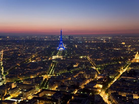 Eiffel Tower Lit in Blue, Paris at Night-Peter Adams-Photographic Print