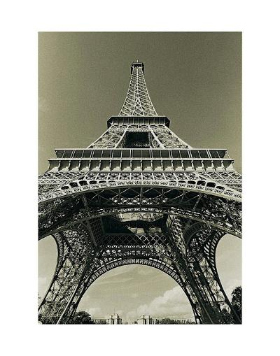 Eiffel Tower Looking Up-Christian Peacock-Art Print