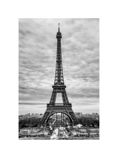 Eiffel Tower, Paris, France - White Frame and Full Format - Black and White Photography-Philippe Hugonnard-Photographic Print