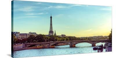 Eiffel Tower Seine River Paris--Stretched Canvas Print