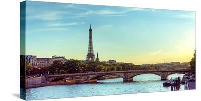 Eiffel Tower Seine River Paris--Stretched Canvas Print