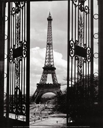 Eiffel Tower through the Gates--Art Print