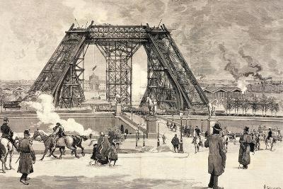 Eiffel Tower under Construction for Paris World Fair, 1889--Giclee Print