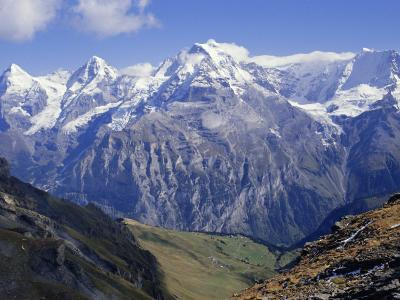 Eiger, Monch, Jungfrau Mountains, Bernese Oberland, Swiss Alps, Switzerland, Europe-Andrew Sanders-Photographic Print