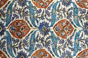 Eight Composite Iznik Polychrome Square Tiles. Originally made for Ansari complex, Eyup, Istanbul