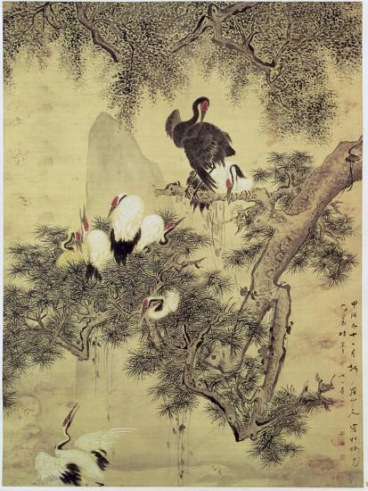 Eight Red-Crested Herons in a Pine Tree, 1754-Hua Yan-Giclee Print