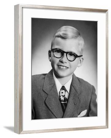 Eight Year Old School Boy Portrait, Ca. 1954--Framed Photographic Print